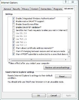 IE TLS internet options. Check TLS 1.2